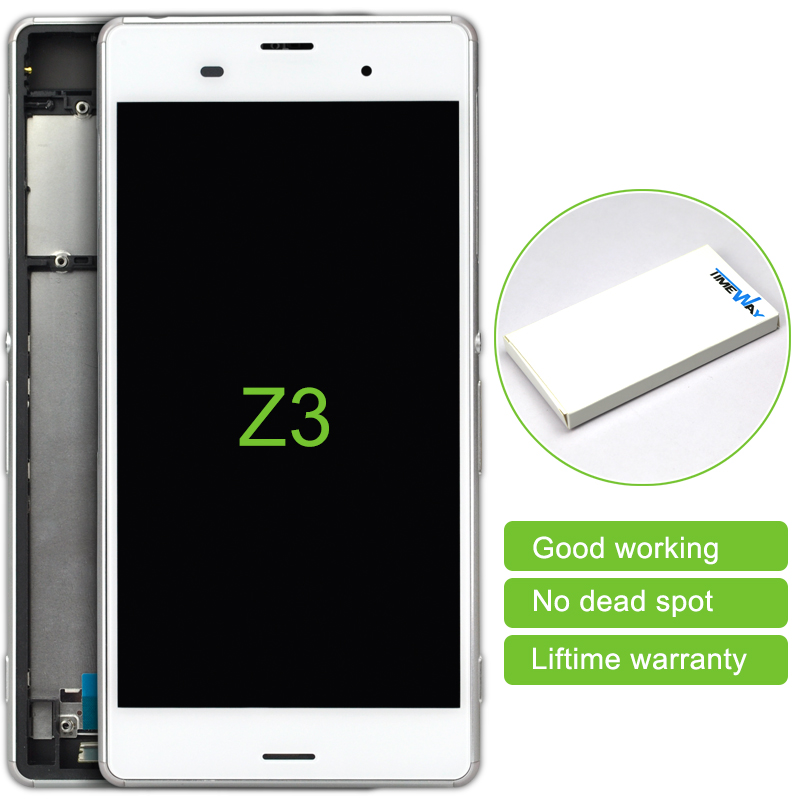 2 pcs LCD Display Touch Screen Digitizer + Bezel frame For Sony Xperia Z3 D6603 D6653 L55T LCD Free shipping (Single card)