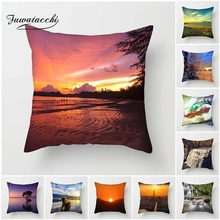 Fuwatacchi живописная наволочка для подушек, рассвет, закат, морские наволочки, декоративная наволочка для декоративного домашнего дивана, стула