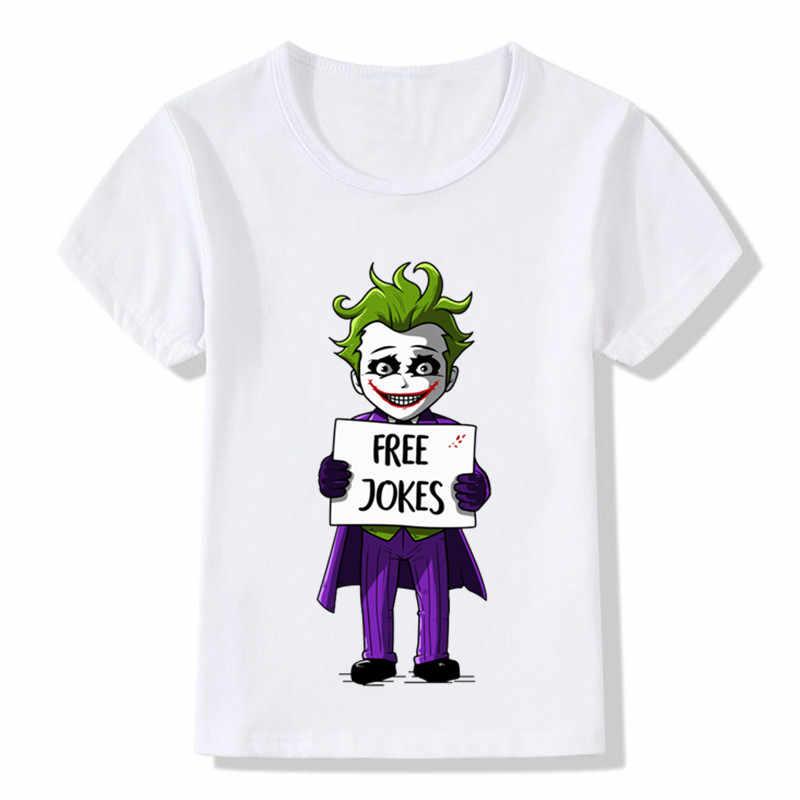 Детская футболка с принтом «Дэдпул», «пробойник», «Джокер», «Джокер» Детская забавная футболка летние белые топы для мальчиков и девочек HKP5130