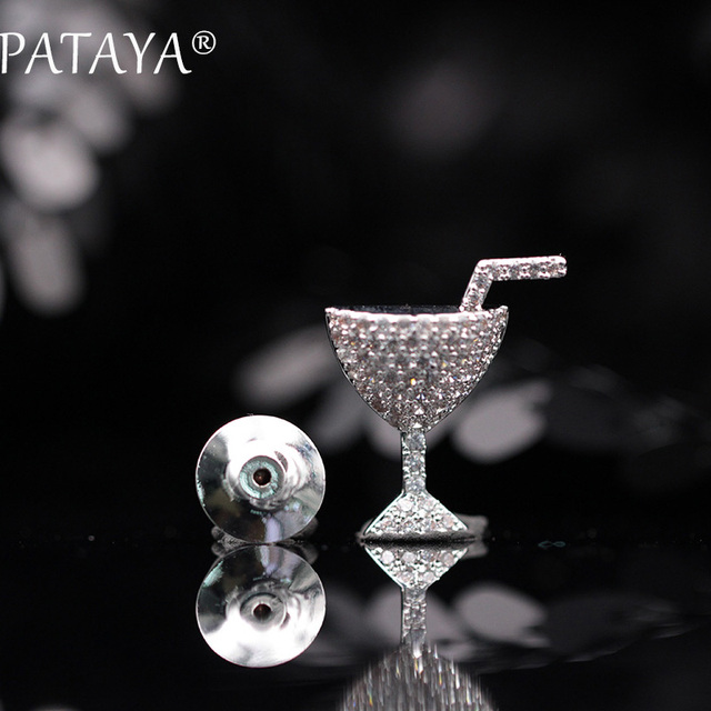 PATAYA New Arrivals True White Gold Wine Glass Cup Brooches Round Natural Zirconia High-quality Fine Luxury Jewelry For Women