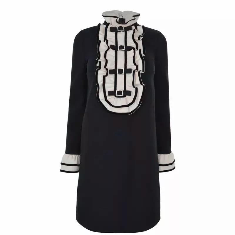 DHIHKK 2019 New Arrival Spring Autumn Women A line Dress High Waist Embroidery Vestidos Long Sleeve