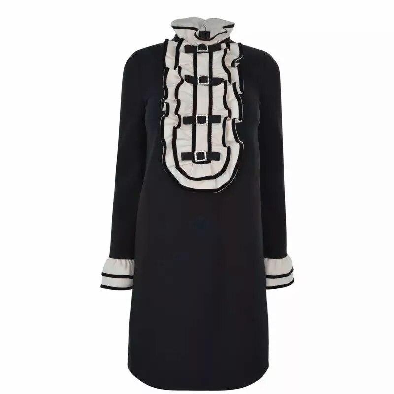 DHIHKK 2019 Новое поступление весна осень Женское платье А силуэта вышивка с высокой талией Vestidos с длинным рукавом винтажные платья