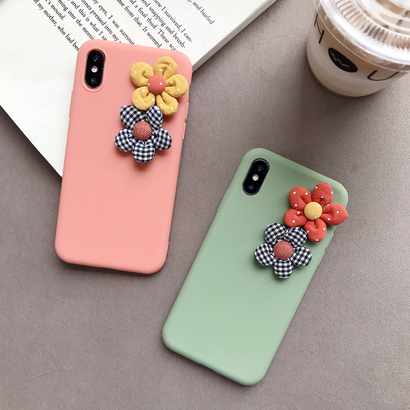 3D Artificial Cloth Flower Phone Case For iPhone 8 7 6 6s Plus Cover For iPhone X XS Max XR Fashion Floral DIY Soft Back Cover-in Fitted Cases from Cellphones & Telecommunications