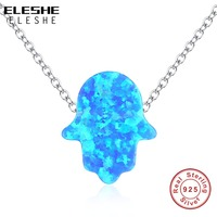 925 Sterling Zilveren Lange Chain Crystal Ketting Trui Sieraden Mode Blauw Opaal Palm Hamsahand Ketting Vrouwen Gift