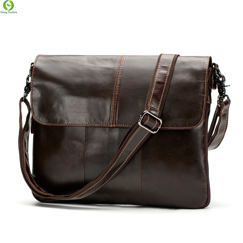 100% Genuine Leather Men bags Messenger Bag Crossbody Bag Mens Briefcase Vintage Shoulder Coffer Cowhide Leather Bags 2016 New