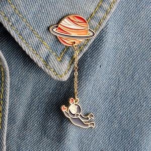 Fashion Astronaut Earth Moon Rabbit Saturn Mars Planet Brooches Women Men Girl Drip Pins Collar Badge Animal Jewelry Wholesale