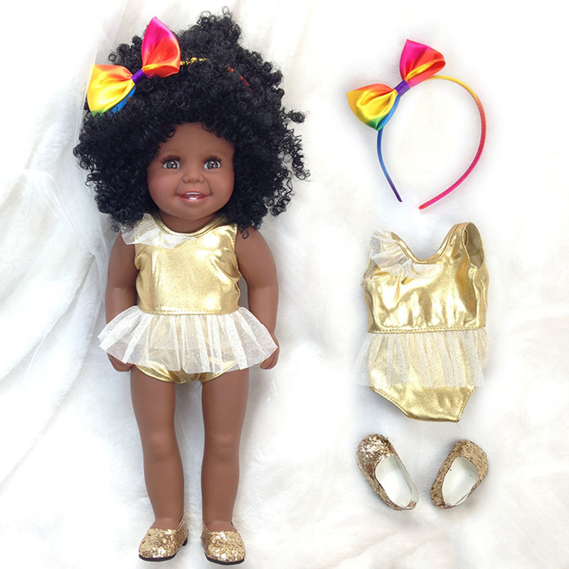 45cm/18 Inch American Princess vinyl newborn reborn Doll black skin collectible Doll modeling doll Doll Kids Birthday gifts45cm/18 Inch American Princess vinyl newborn reborn Doll black skin collectible Doll modeling doll Doll Kids Birthday gifts