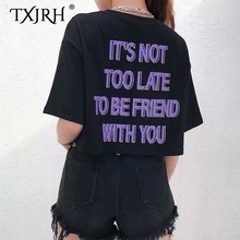 TXJRH Sexy Back Letter Print Short Sleeve Black Crop Basic Tee Stylish Streetwear O-Neck Pullover Casual Short T-Shirt Tops zip back crop tee