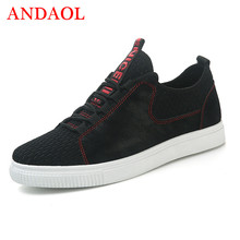 ANDAOL Mens Casual Shoes Newest Mesh Non-Slip Light Student Trainers Luxury Brand Lace-up Campus Sneakers Outdoor