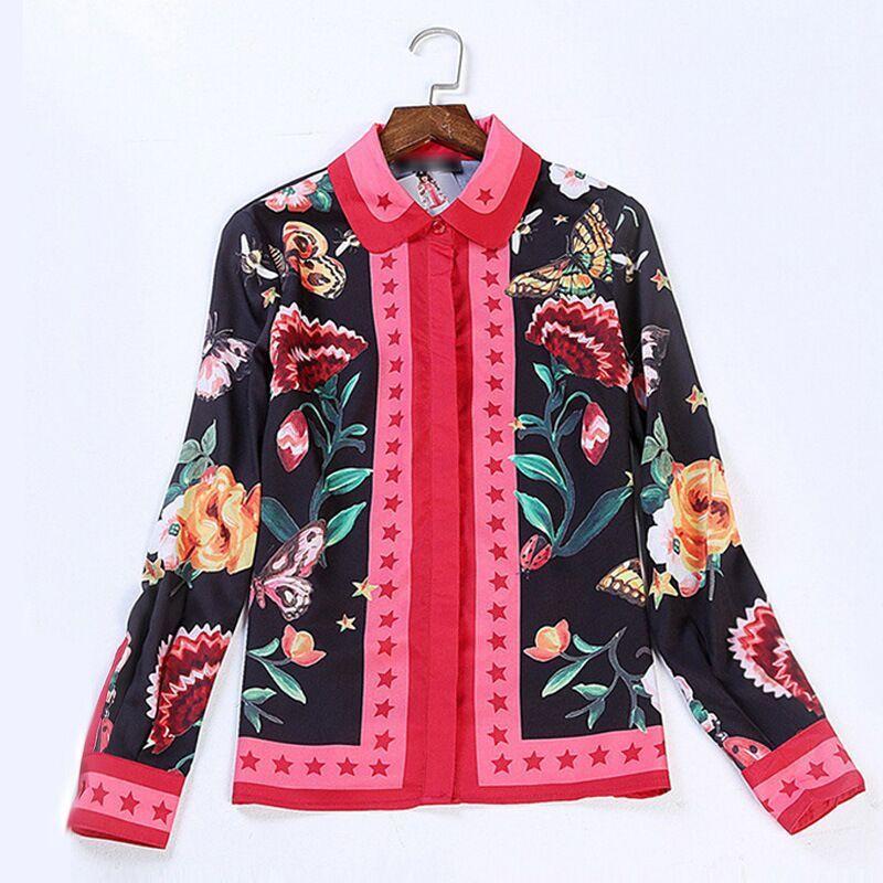 Qualità Magliette Donna Camicie Arco Stampa Insetto Serpente Camicette Donne Camicia Di E Della Del A Delle Lunghe Maniche Runway Alta 2018 A5xwRwnqpT