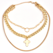 купить Woman Multi Layers Cross Tassel Pendant Choker Chain Necklace Jewelry Metal multilayer chain cross pendant female necklace дешево