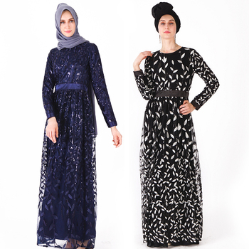 New Women's Long-sleeved Muslim Robe with Sequined Leaves Embroidered National Abaya