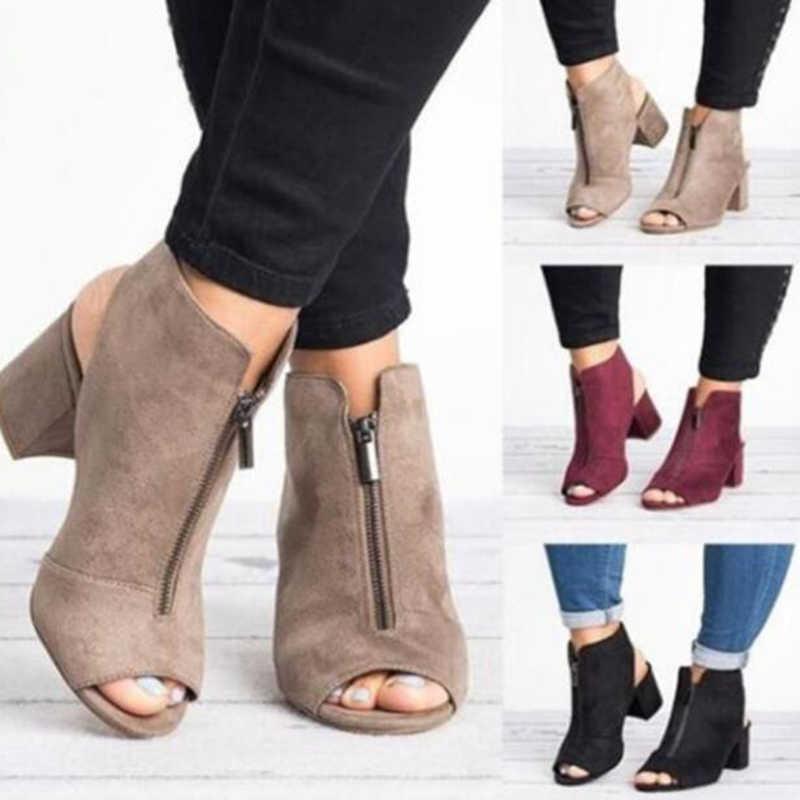 COVOYYAR/2019; женские босоножки на толстом каблуке; обувь с открытым носком; сезон лето-осень; женские ботильоны на молнии на каблуке; женские туфли-лодочки; большие размеры; WBS048