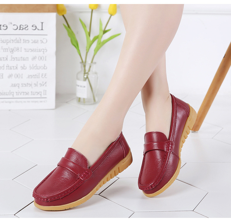 AH 2020-2019 Spring Autumn Women Loafers Genuine Leather Woman's Flats-8
