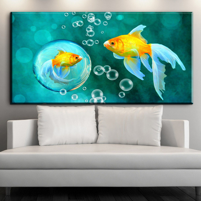 Perfect ZZ1898 Koi Fish Wall Art Chinese Painting Wall Art On Canvas Home Decor  Modern Wall Picture