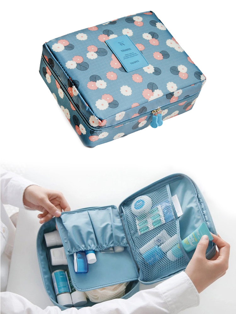 Multifunctional waterproof Oxford cloth travel storage bag Portable double layer ladies cosmetic bag custom Korean wash bag-in Storage Bags from Home & Garden