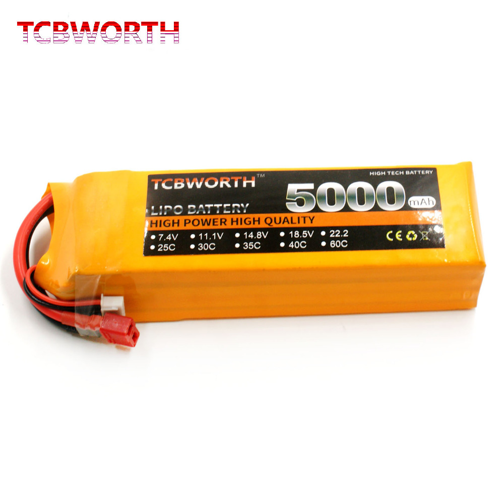 TCBWORTH 4S 14.8V 5000mAh 25C RC LiPo battery For RC Airplane Quadrotor Helicopter AKKU Drone Car Truck Li-ion battery tcbworth rc lipo battery 14 8v 3000mah 60c max 120c 4s for rc airplane quadrotor drone truck akku li ion battery