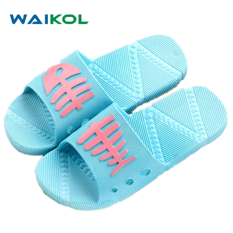 Waikol Summer Women Sandals Beach Platform non-slip Slippers Bathroom Fish Bones Slippers Casual Shoes Female Soft Flip Flops waikol new women summer heavy bottomed sandals ladies beach slippers wedges shoes platform candy color casual shoes wholesale