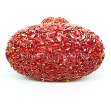 New Design Deluxe Oval Shape Ladies Evening Party Clutches Full Crystals Metal Women Purse Gold Plated