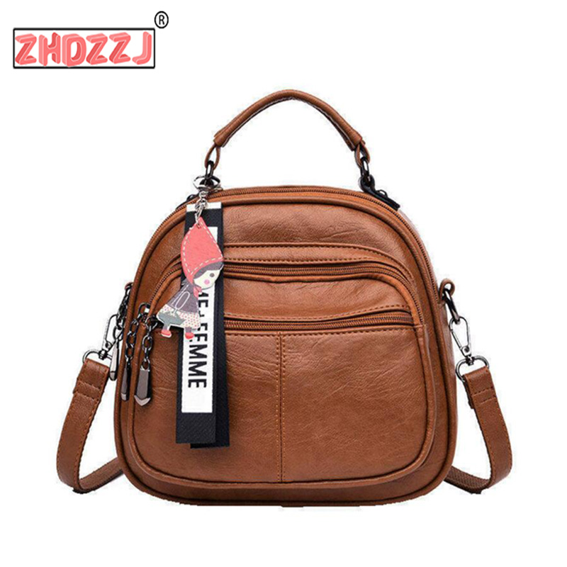 Women Designer Vintage Soft PU Leather Backpack Women Multi-Function Anti Theft Small Backpack Purse Female Ladies Shoulder Bag
