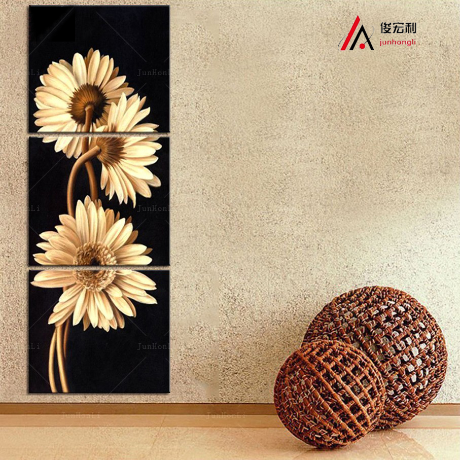 3 Panels Modern Modular Pictures Home Decoration Wall Art Canvas Prints Flowers Giclee Prints Paintings and Frames for Kitchen