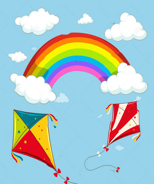 rainbow cloud kites blue sky Background polyester or Vinyl cloth High quality Computer print wall photo backdrop