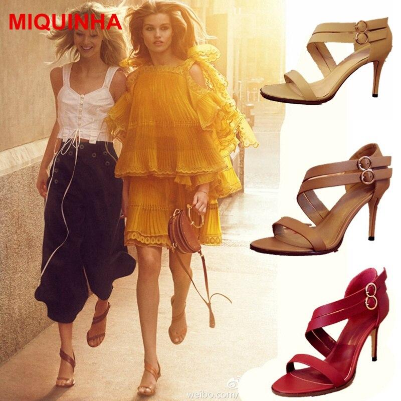 MIQUINHA bout ouvert Sexy haut talon mince femmes chaussures d'été Super étoile scène de piste Mujer Sandalia boucle conception de mode marque chaude