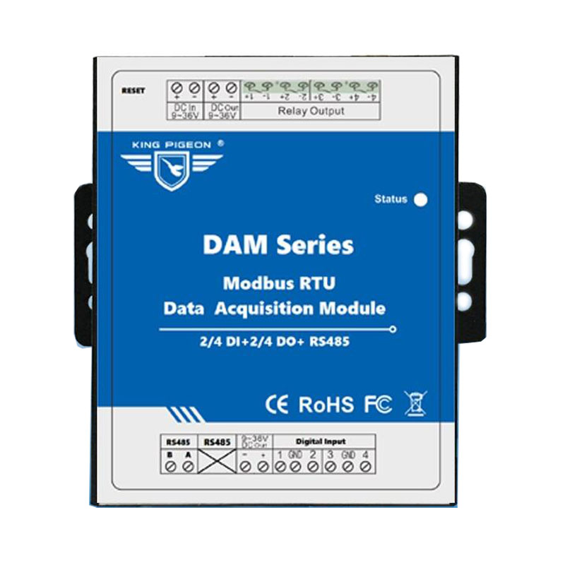 IOT Remote Data Acquisition Module 2 DIN+Relay Output Modbus RTU Remote IO for Environmental Monitoring DAM102