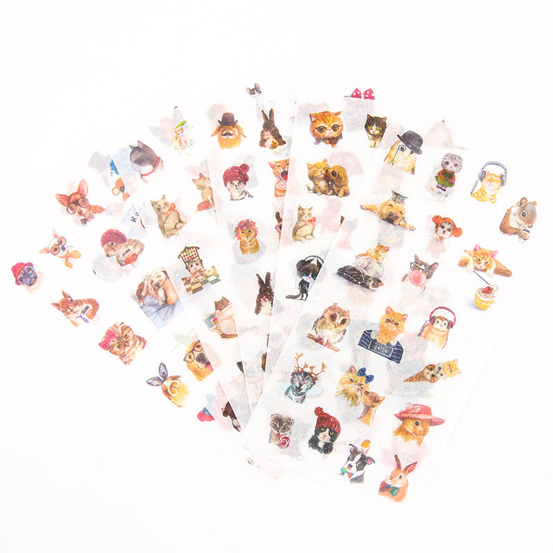 6PCS New Meow Selling Sprout Children Stationery Stickers For DIY Albums Scrapbooking Diary Decoration Cartoon Depicting
