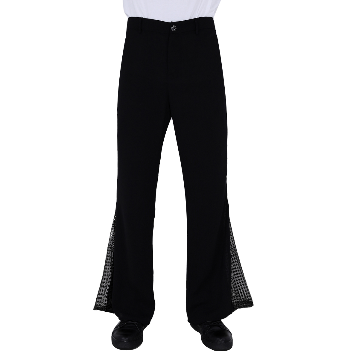 Mens Disco Pants Retro 70s Disco Pants Sequins Bell Bottom Flared Long Trousers