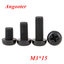 1000 шт. M3 * 15 черные нейлоновые винты с круглой головкой m3 * 15 GB818 Phillips нейлоновые болты для машины