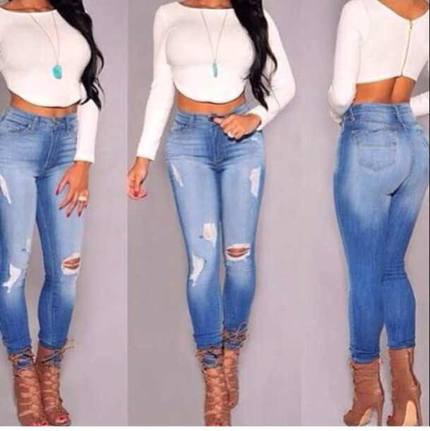 High waisted ripped skinny jeans plus size