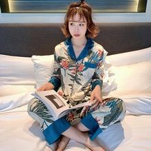 WAVMIT 2019 Spring Women Comfortable Silk Pajama Set Girl Print Pyjama Set Long Sleeve Sleepwear Suit