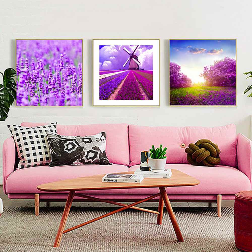haochu painting color lavender windmill wall art print