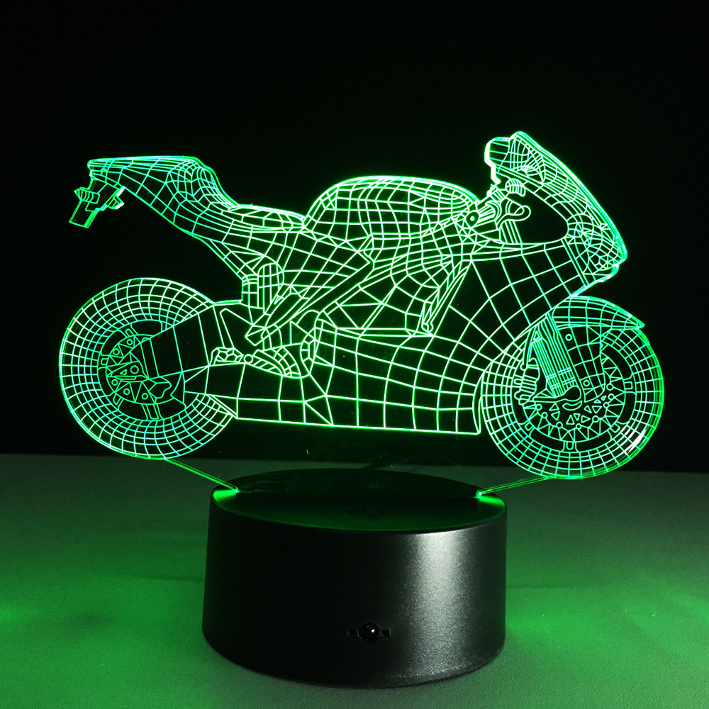 Novelty toy motorcycle Shape lamp 7 color changing visual illusion LED light motorcycle decro toy action figure birthday gift