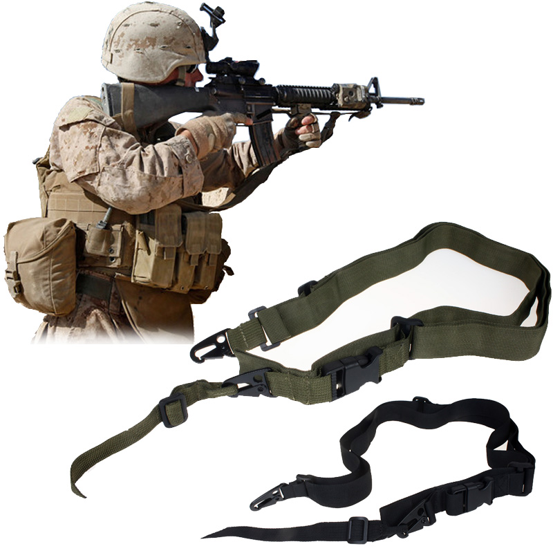 Tactical 3 Three Point Rifle Sling Adjustable Bungee Tactical Airsoft Gun Strap System Paintball Gun Sling for Hunting Airsoft