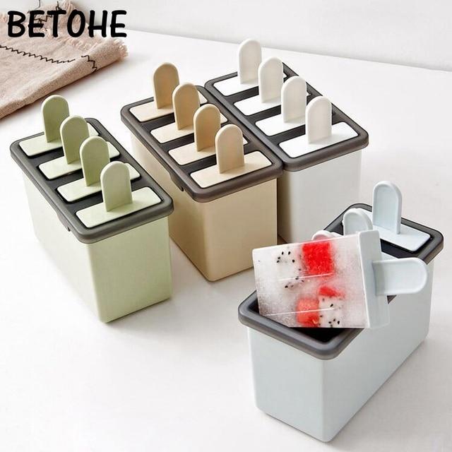 4 ячейки DIY эскимо Классический Форма для изготовления мороженого лоток чайник PP замороженный кубик льда Lolly Плесень Кухня мороженое Пособия по кулинарии инструменты