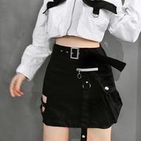 6cda570fdb Fashion Hollow Out High Waist Harajuku Women Skirts Zipper Tooling Safari  Black Red Short Skirt Womens