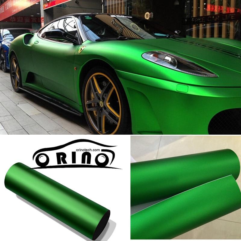 1 52x20m Roll Green Metallic Matt Vinyl wrap Car Wrap With Air Bubble Free Chrome red