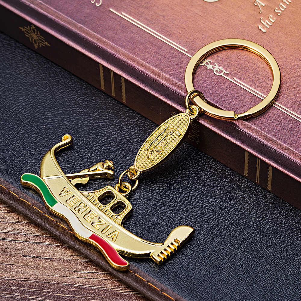 Vicney Newest Pure Gold Color Venetian Boat Key chain Water City Venice Souvenirs Keychain For Best Friend Keyring For Key