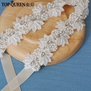 Image 3 - TOPQUEEN H232 Bruiloft headwears voor vrouwen trouwjurk met parels kant bloemen met kristal Haar decoraties voor vriendin