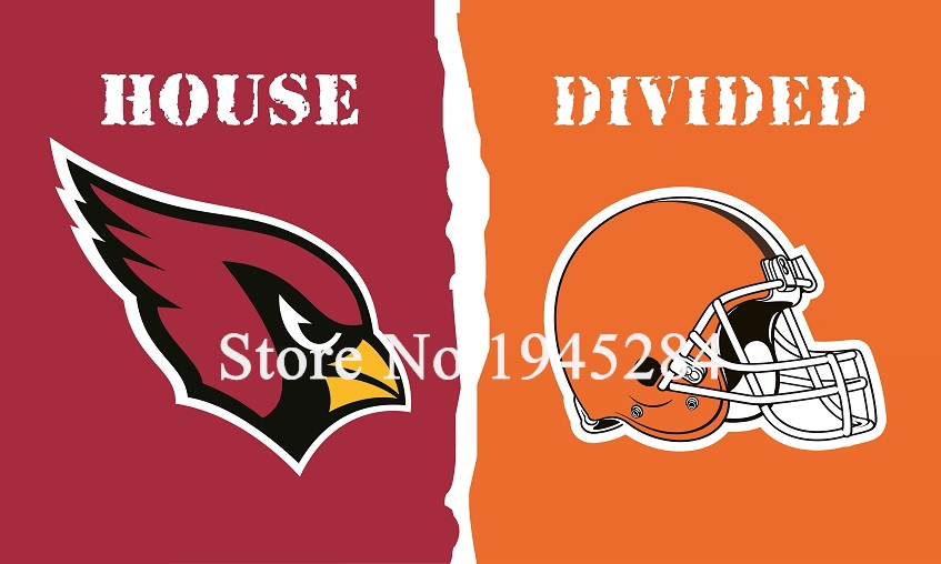 NFL Arizona Cardinals Cleveland Browns House Divided Flag 002 3x5ft 150x90cm Polyester Flag Banner, free shipping