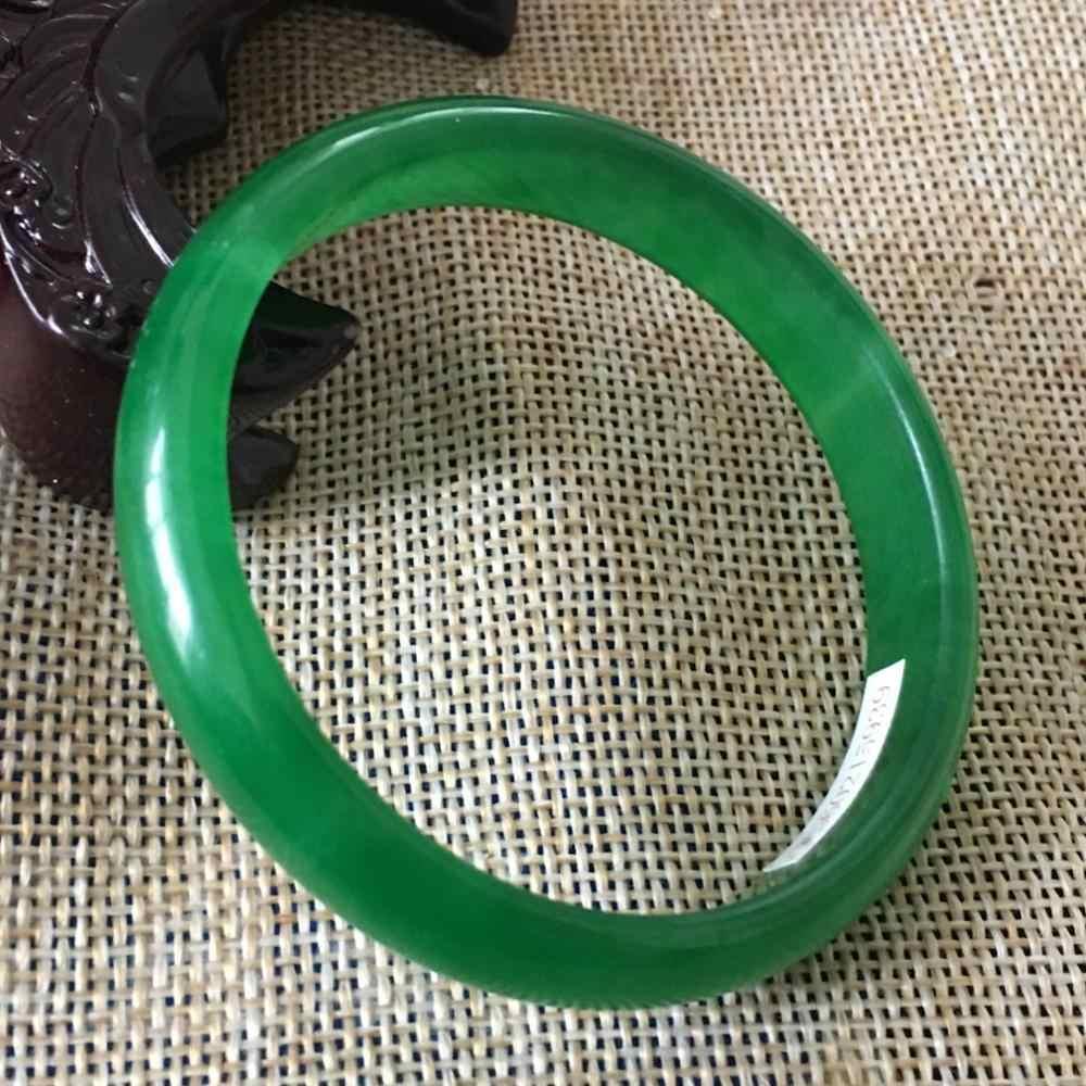 55มิลลิเมตรได้รับการรับรองธรรมชาติสีเขียวหยกJadeiteสร้อยข้อมือกำไลข้อมือ15939