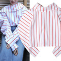 Women Fashion New Design 2017 New Striped Shirt Blouse Pink Tops Shirt Puff Sleeves Loose Collar Blouse
