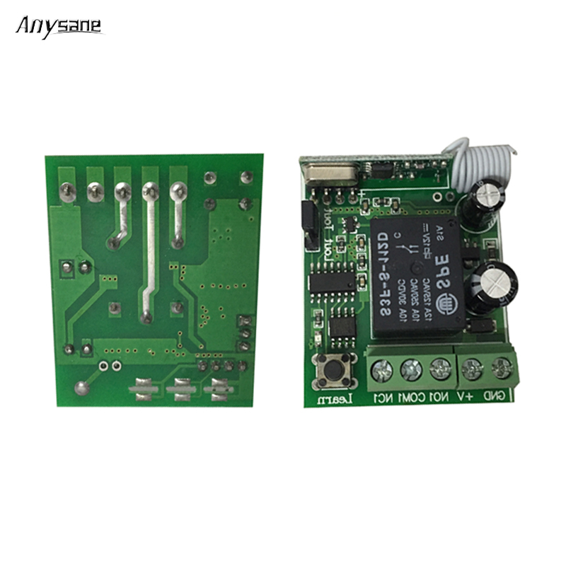 1 CH 433mhz Universal smart remote receiver 433mhz learning code remote control switch DC 12 V 10A RF relay with 3 working mode