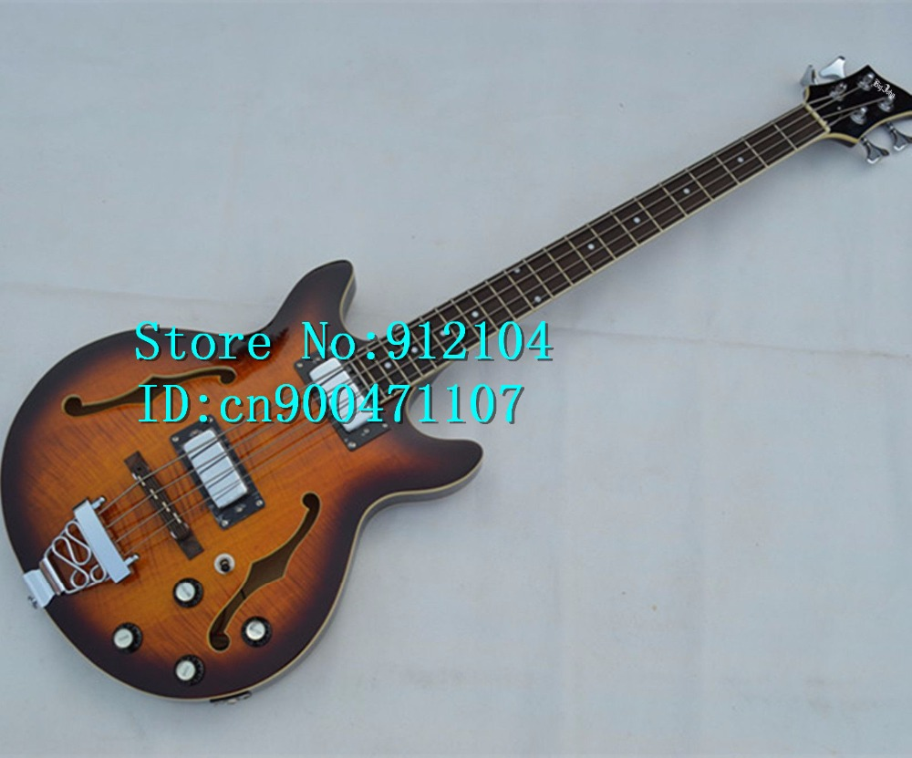 free shipping new F hole hollow electric bass guitar in fade with sticking tiger stripes made in China+foam box F-1237 finish bass guitars electric chinese 5 string bass butterfly bass guitar free shipping made in china