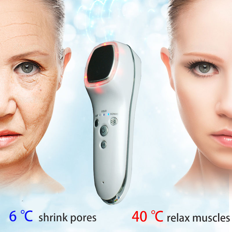 ФОТО Ultrasonic Hot Cold Firming Face Fast Shrink Pore Rejuvenation Vibration Facial massage 6/42 degrees alternately Shrink pores