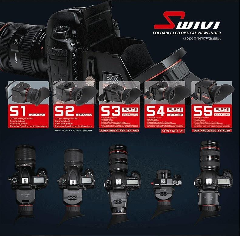 """GGS swivi S3 3X Plegable Visor óptico 3.0/""""//3.2/"""" LCD de aspecto para Canon 5D3"""