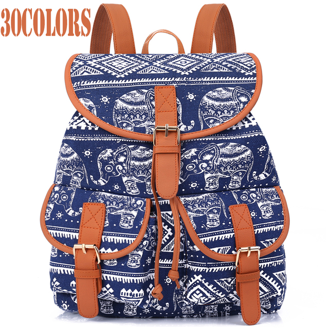 Sansarya Новый 2017 школьная сумка богемского женщины рюкзак drawstring печати холст Bagpack SAC DOS Femme рюкзак женский
