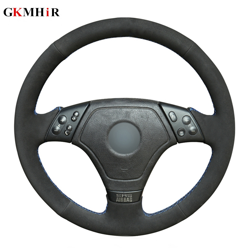 GKMHiR DIY Black Hand-stitched Blue Marker Black Suede Leather Car Steering Wheel Cover for BMW E36 E46 E39GKMHiR DIY Black Hand-stitched Blue Marker Black Suede Leather Car Steering Wheel Cover for BMW E36 E46 E39